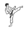 karate strikes foot up sketch engraving vector image vector image