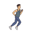 male cartoon runner running with headphones and vector image vector image