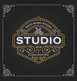 music studio logo vintage luxury banner template vector image
