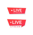 online streaming banner live stream red icon vector image vector image