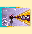 paper cut cinema landing page website vector image vector image