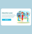 pediatric clinic checkup banner weighing baby vector image