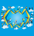 people on a rainbow in the blue sky vector image vector image