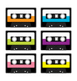 plastic audio tape cassette retro music icon set vector image