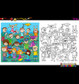 playful children characters coloring book vector image vector image