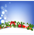 poster with bokeh and xmas border vector image vector image