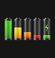 realistic detailed 3d battery charge indicators vector image