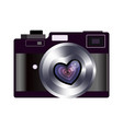 retro camera valentines heart favorite lens in vector image