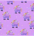 seamless pattern with cartoon unicorns purple vector image