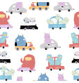seamless pattern with cute monsters on a cars vector image