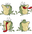 set of cute cartoon green frogs vector image