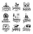 set of hand lettering with summer vector image vector image