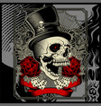 skull wearing hat and dice rose decoration vector image vector image