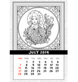 snow maiden coloring book page calendar july 2019 vector image