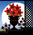 stylized red flowers in a vase vector image