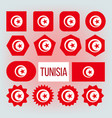 tunisia various shapes national flags set vector image