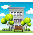 Apartment building behind the park vector image