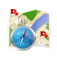 Blue Compass and map vector image