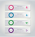 4 steps of infographic with pink blue green and vector image vector image