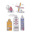 amsterdam houses and windmill in sketchy style vector image