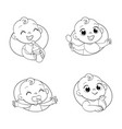baby portraits in different situations vector image