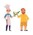 bearded man and young chef drinking bear toasting vector image