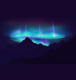 beautiful aurora borealis northern lights in night vector image vector image