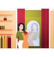 business woman trying on new dress elegant woman vector image vector image