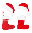 christmas caps and socks vector image vector image