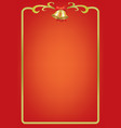 christmas card on red background with bells vector image vector image