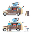 coffee food truck isolated retro van car vector image