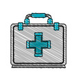 color crayon stripe cartoon first aid kit with vector image vector image