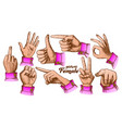 color multiple female caucasian hand gesture set vector image vector image