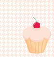 Cupcake on white and pink houndstooth background vector image vector image