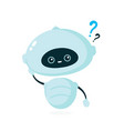 cute smiling robot bot with question mark vector image vector image
