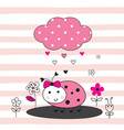 cute with cartoon ladybug vector image vector image
