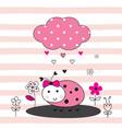 cute with cartoon ladybug vector image