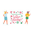 discounts during winter holidays sale poster woman vector image