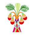 drawing african palm tree in decorative vector image