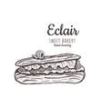 eclair sketch eclair with raspberries vector image vector image