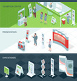 exhibition center isometric banners vector image vector image