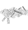 forex brokers text background word cloud concept vector image vector image