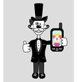 gentleman dog with mobile phone vector image