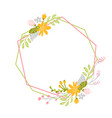 geometric spring wreath with flower flat herb vector image vector image