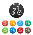girl tricycle icons set color vector image vector image
