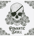 hand drawn skull with rose vector image vector image