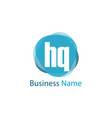 initial letter hq logo template design vector image