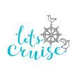 let cruise ship steering wheel and seagull vector image vector image