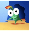 Little monster posing near the cave vector image