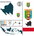 Map of Lampung vector image vector image